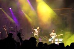 在音乐会期间的光线影响 免版税库存图片