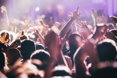 在音乐会的欢呼的人群享受音乐表现的 免版税库存照片