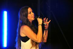 在音乐会的Alanis Morissette在意大利 免版税库存照片