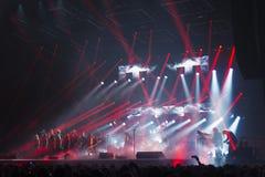 在音乐会的Trans西伯利亚乐队 免版税图库摄影