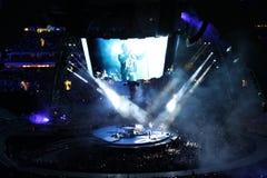 在音乐会的U2 免版税库存照片