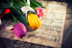 在音乐便条纸的郁金香 图库摄影