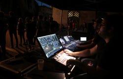 在音乐展示期间的合理的控制集合 库存图片
