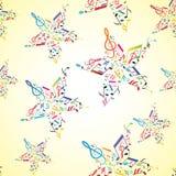 在音乐附注无缝的星形里面的背景 免版税库存照片