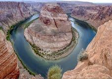 在页,亚利桑那,河科罗拉多的马掌弯 图库摄影