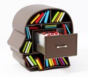 在顶头图书馆抽屉里面的索引卡片编目 3d例证 向量例证
