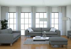 在顶楼设计样式的现代最低纲领派客厅内部与沙发 免版税库存照片