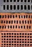 在顶视图的各种各样的老砖样式 免版税库存照片