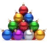 在顶面除夕的金字塔圣诞节球多彩多姿的红色 向量例证