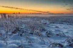 在顽童冻海湾的冬天风景  图库摄影