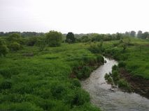 在领域中的小河 免版税库存图片