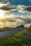 在领域之间的乡下公路 库存图片
