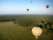 在领域和森林的热气球 免版税库存图片