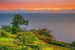 在领域和海洋附近的五颜六色的日落 库存图片