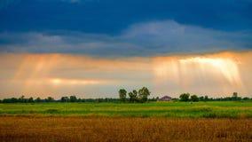 在领域的多云云彩 图库摄影