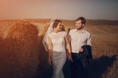 在领域的愉快的婚礼夫妇 库存照片