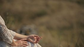 在领域的愉快的恋人休息 愉快的女孩坐草 股票视频