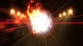 在领域的排球在颜色照明设备下 体育队概念 o ?? ?? 聚光灯在晚上 股票录像