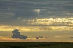在领域的日落,日落背景,美丽的云彩 免版税库存图片