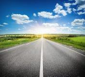 在领域的柏油路在蓝天下 免版税图库摄影