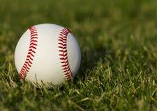在领域的棒球与草 免版税库存照片