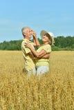 在领域的爱恋的成熟夫妇 免版税图库摄影