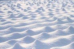 在领域的白色雪在阳光下 免版税图库摄影