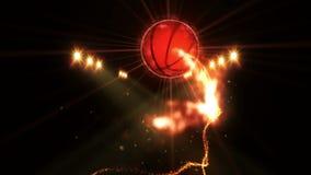 在领域的篮球在颜色照明设备下 体育队概念 o ?? ?? 聚光灯在晚上 影视素材