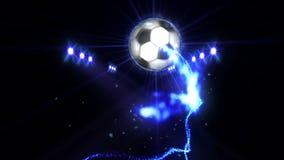 在领域的足球在颜色照明设备下 体育队概念 o ?? ?? 聚光灯在晚上 股票视频