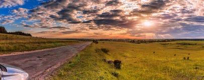 在领域的路在日落 在天空的五颜六色的云彩 免版税图库摄影