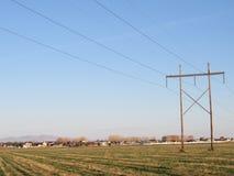 在领域的输电线在路 免版税图库摄影