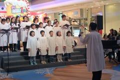 在领域购物中心香港的圣诞前夕caroling的事件 图库摄影