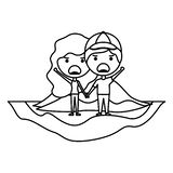在领域kawaii字符的动画片愤怒的夫妇 向量例证