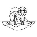 在领域kawaii字符的动画片愤怒的夫妇 库存例证