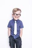 在领带和玻璃的小可爱的孩子 学校 幼稚园 方式 演播室画象被隔绝在白色背景 免版税图库摄影