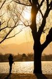 在颐和园的日落 免版税库存照片