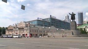 在题字欧洲的背景的列宁纪念碑 股票视频