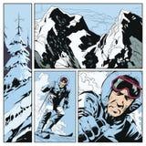 在题材滑雪的拼贴画 背景明亮的例证桔子股票 向量例证