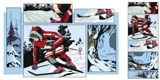 在题材滑雪的拼贴画 背景明亮的例证桔子股票 皇族释放例证