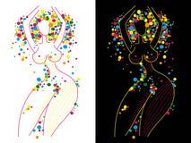 在颜色中间的肉欲的舞蹈 免版税库存图片