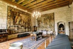 在颜色和典型中世纪其中一个与大挂毯的Braganza公爵的宫殿的大厅绣的看法 库存图片