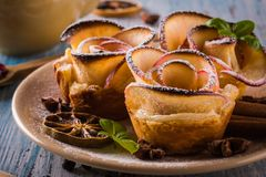 在颜色板材的酥脆苹果玫瑰用几个草本和香料 库存照片