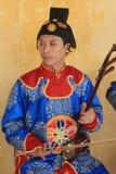在颜色的传统越南音乐表现事件 免版税库存图片