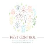 在颜色的害虫控制线性集合 免版税库存图片