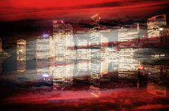 在颜色的抽象现代城市背景 免版税库存图片