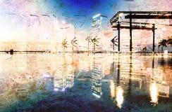 在颜色的抽象现代城市背景 库存图片