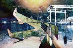 在颜色的抽象现代城市背景 免版税库存照片