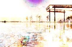 在颜色的抽象现代城市背景 免版税图库摄影