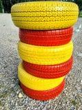 在颜色的车胎 免版税库存图片