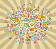 在颜色的音乐云彩 免版税库存图片